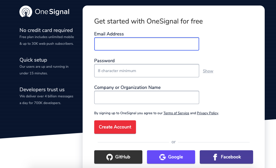 create Onesignal account