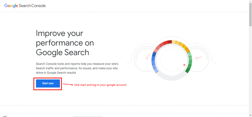 log into google search console account