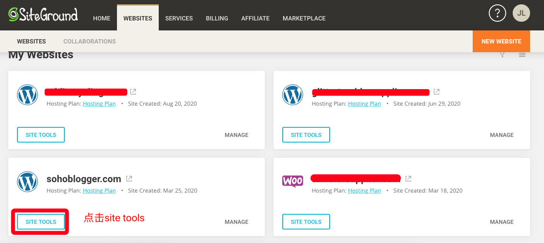 登录后台进入域名网站管理工具